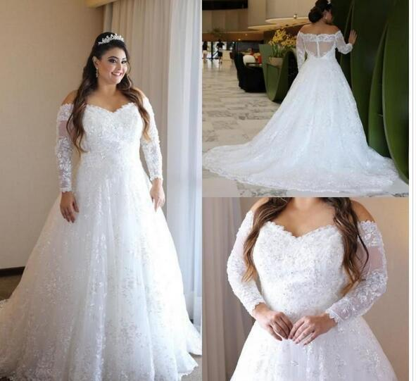 96673c1fcf6b Plus Size Wedding Dresses A Line Off The Shoulder Sheer Long Sleeves Latest