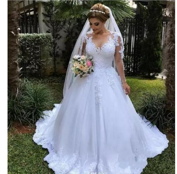 46ba9ae3832 White Applique Lace Wedding Dresses Illusion Sheer Long Sleeve Plus Size  Country