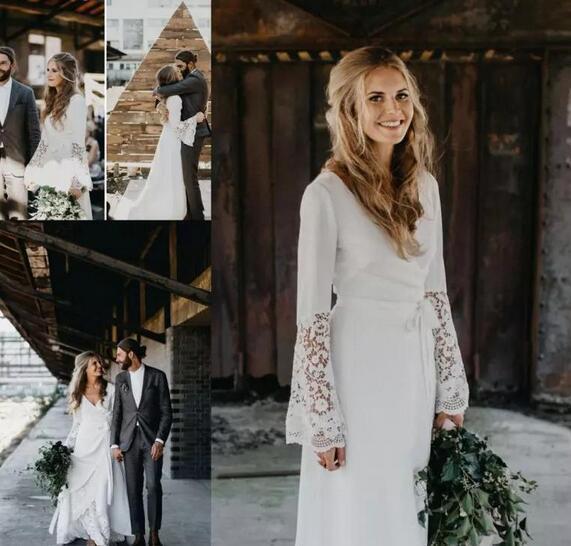Vintage Hippie Wedding Dresses Country Crochet Lace A Line Bohemian V-neck  Long 48519c7d51c9