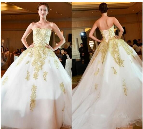 Runway A Line Wedding Dresses With Gold By Miss Zhu Bridal On Zibbet