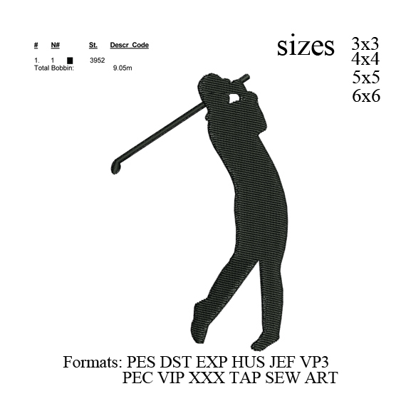 Golfer embroidery machine, Custom embroidery, Personalized Embroidery,
