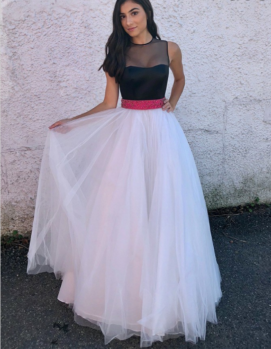 A-Line Jewel Sweep Train White Tulle Prom Dress with Sash