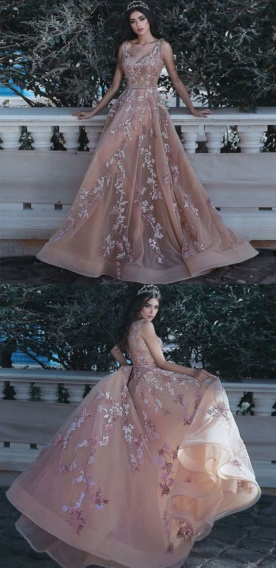 A-Line V-Neck Floor-Length Organza Prom Dress with Appliques Sequins