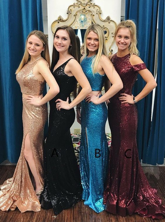 Mermaid Style V-Neck Sweep Train Black Sequined Prom Dress