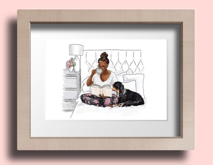 Watercolor fashion illustration - Me Time 2 - Dark Skin
