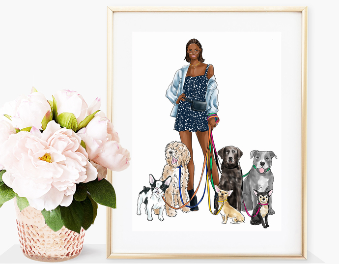 Watercolor fashion illustration - Girl with Dogs - Dark Skin