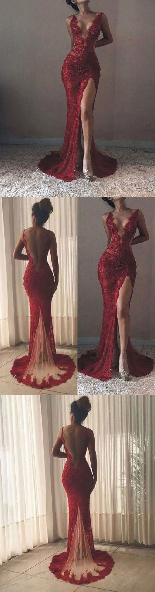 Backless Split Slit Lace Prom Dresses, Formal Evening Dresses