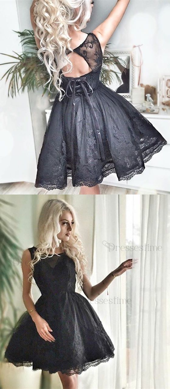 Tulle Prom Dresses, Black Short Homecoming Dress, Appliques Prom Gown