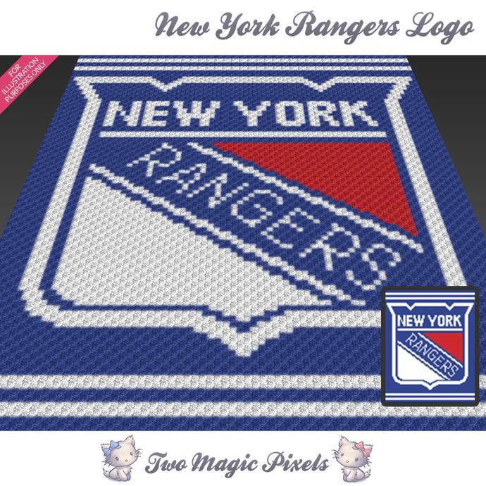 New York Rangers Logo crochet blanket pattern; c2c, cross stitch graph; pdf