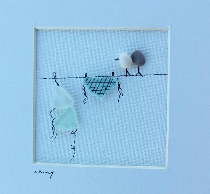 pebble art birds, sea glass birds, sea glass art, wall art, beach home decor,