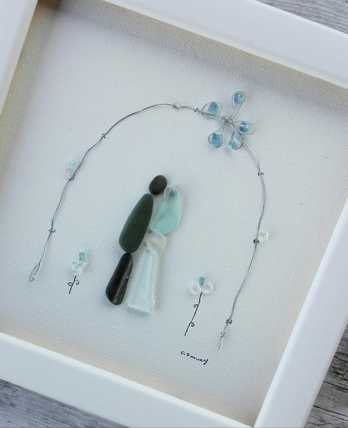 Pebble art wedding, Wedding couple picture, Anniversary wedding, bridal gift,