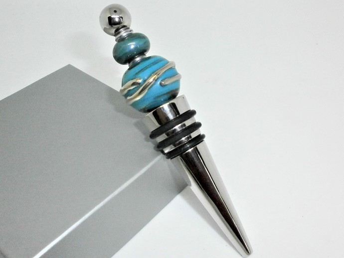 Blue Glass Lampwork bead decorated stainless steel wine bottle stopper with