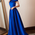 Vestido De Festa Royal Blue A Line Long Satin by prom dresses
