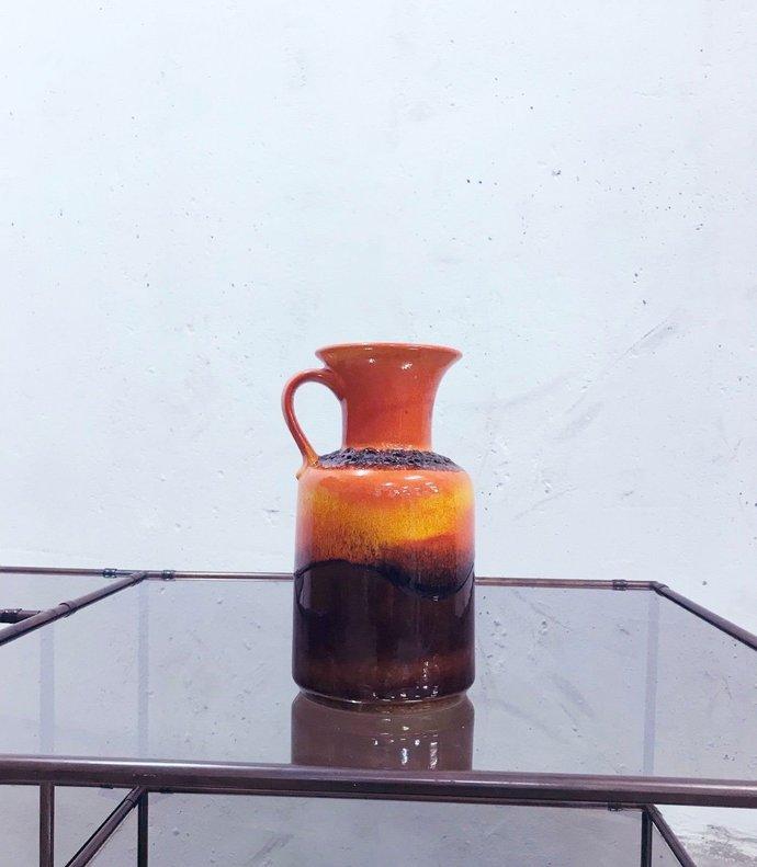 Vintage mid century 1960's German pottery orange lava glazed vase. By Jasba