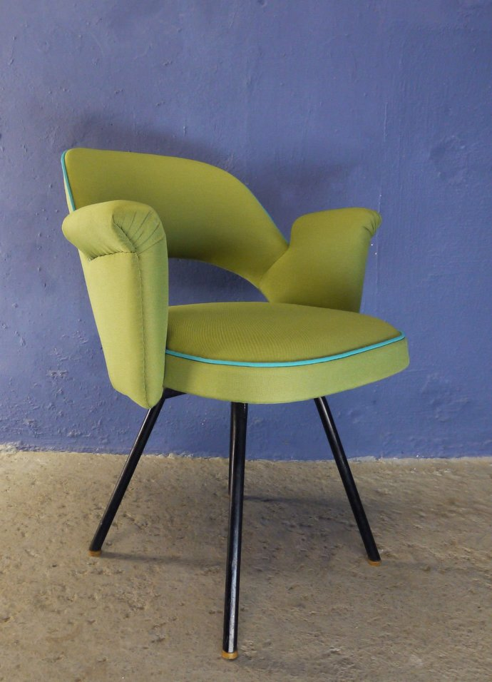 Mid Century stunning lime green and bright blue upholstered chair. Retro 50s 60s