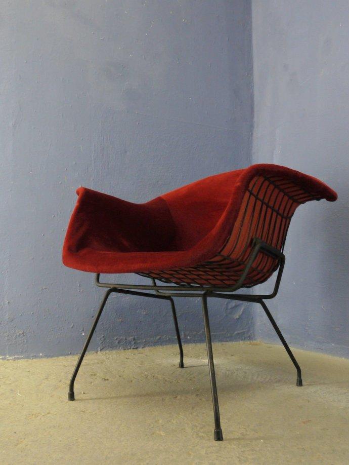Rare Mid Century 1950's 1960s Iron Armchair Bertoia Style museum quality red