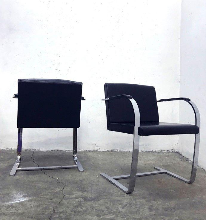 A pair of 2 'Brno' Cantilever Chair by Mies van der Rohe 1930s Bauhaus black