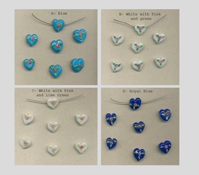 28 heart shaped glass beads