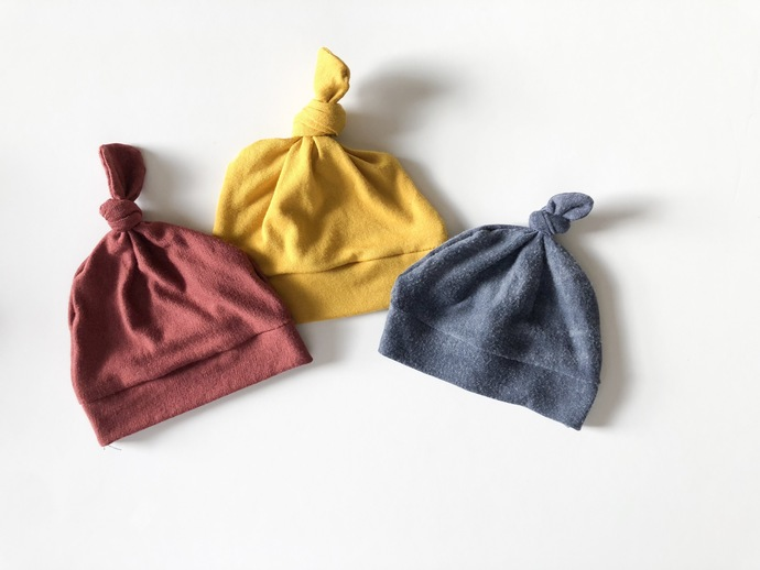 Fall color top knot hats