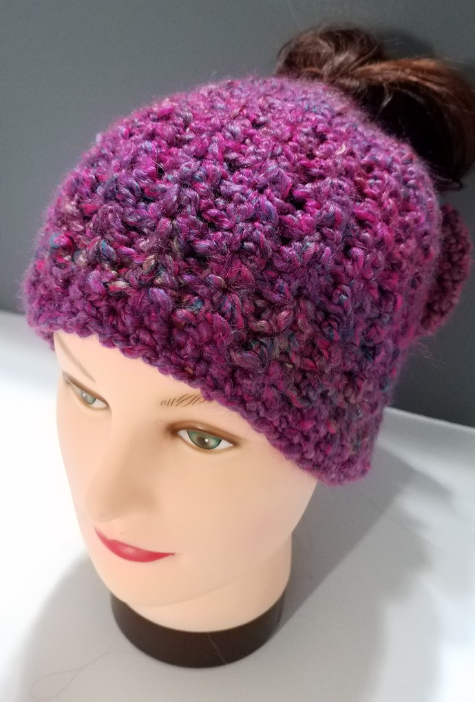Pink Messy bun hat with bow