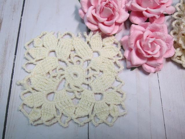 Crochet Doilies Square 3-inch - stl 5pcs Ivory