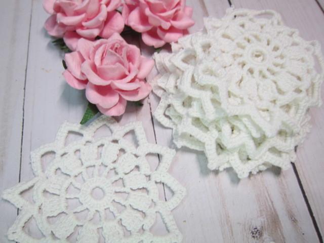 Cotton Crochet Doilies - White 10 pcs 3 inch