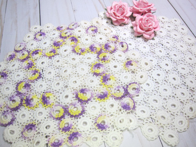Crochet Doily Large Off White Heptagon 9.5-inch Doilies White, Colored - stl