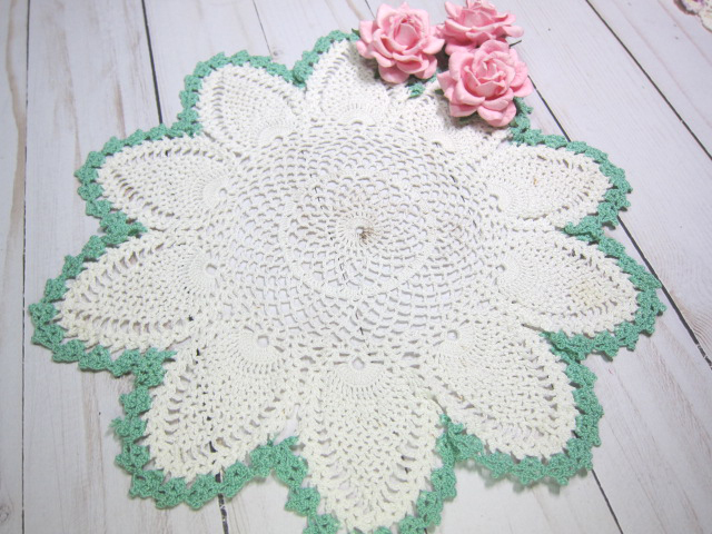 Crochet Doily Handmade Large Doily Off White Mint Edge Pineapple 10-inch