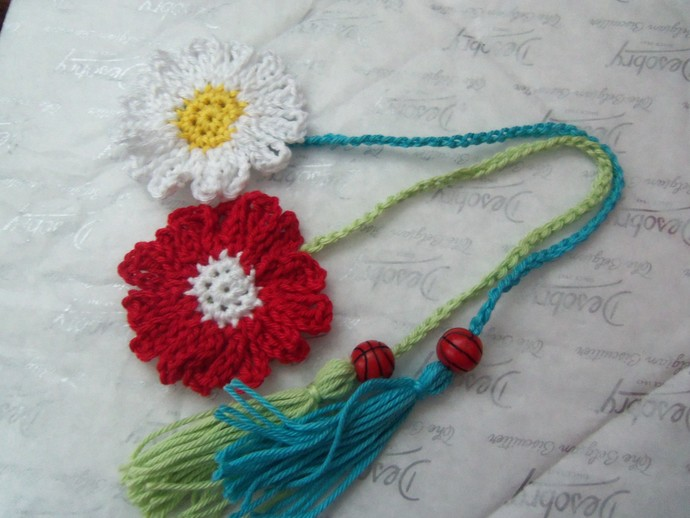 Crochet Bookmarks. Set Of Two Crochet Flower Bookmarks. Book Accessories.