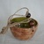 hanging pottery planter glazed in shino and green with jute cord, ceramic