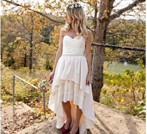Romantic High Low Wedding Dresses Sweetheart Chiffon Lace Bead sash Plus  Size Vestido de novia Bohemian Country Style Bridal Gowns