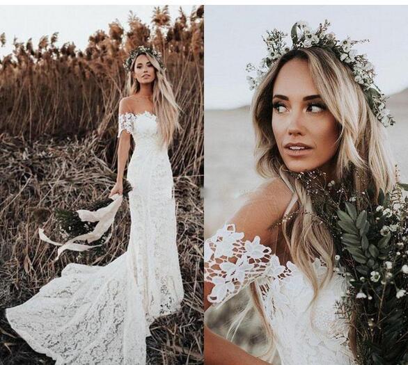 a2adf054341 Elegant Boho Lace Beach WeddingDresses Off The Shoulder Short Sleeves  Mermaid
