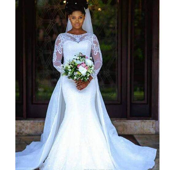 1844ba97f75 Mermaid Wedding Dresses with Detachable Skirt Sheer Long Sleeve Middle East