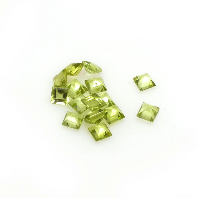 Arizona Peridot Square 3 mm faceted Flawless Loose Gemstone .