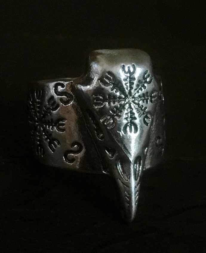 Antiqued Silver Plate Celtic Viking Norse Raven Protection Pendant Ring