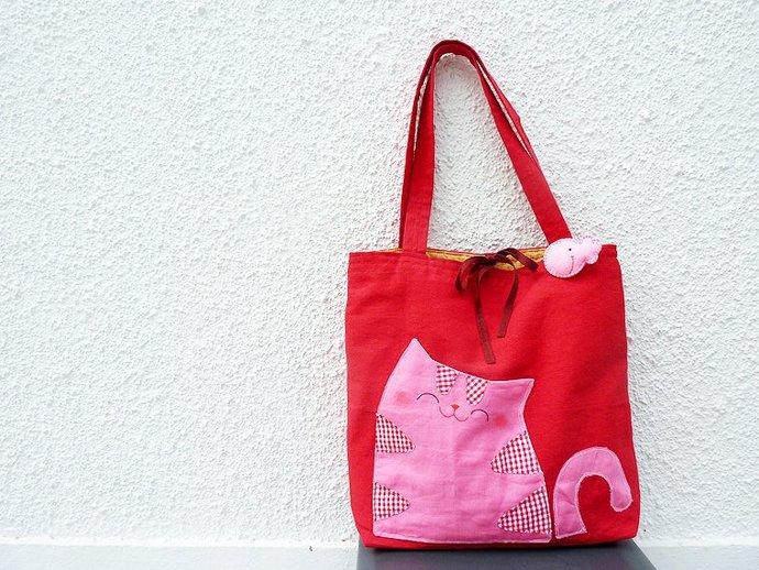 cat tote bag, red shoulder bag, cat bag, handmade bag, canvas bag, bag for