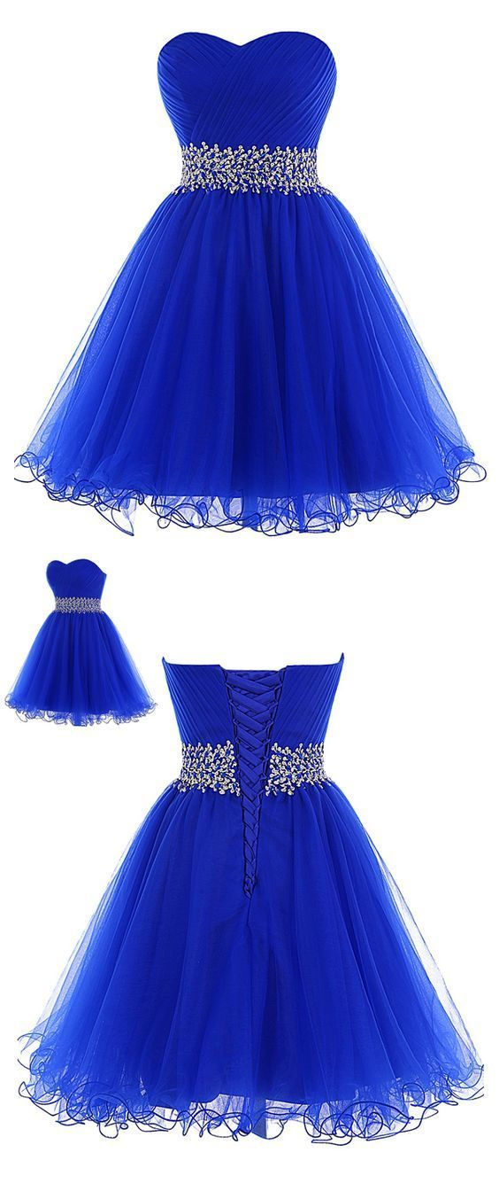 Blue Sweetheart Tulle Short Homecoming Dress, Blue Prom Dress 2019