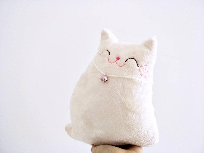 white stuffed cat, cat decor, toddler toy cat, plush cat, cat softie, cat, doll