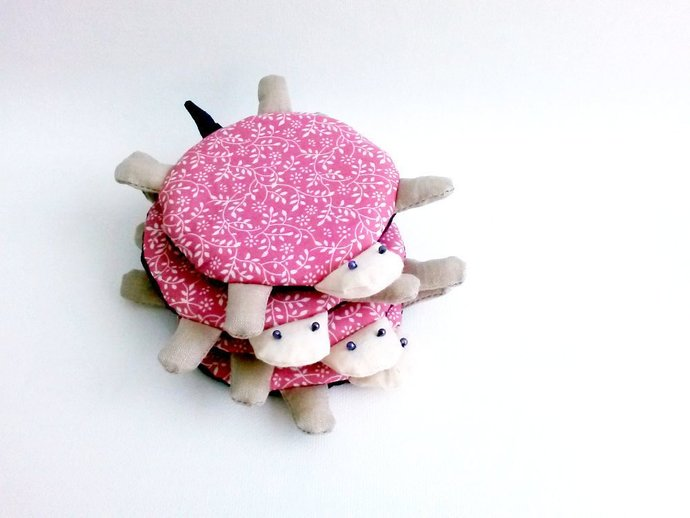 Pink flower, turtle coaster set, fabric coaster, cute coaster, kids coaster,