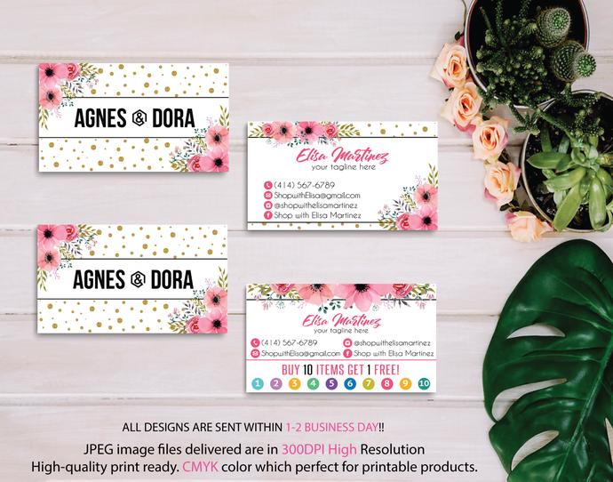Agnes Dora Business Cards, Agnes Dora Cards, Business Card, Personalized Agnes