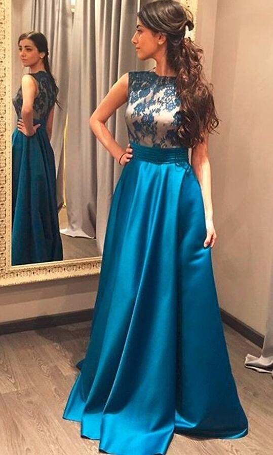 Simple Blue A Line Princess Prom Dress,Lace Satin Prom Dresses,High Neck Long