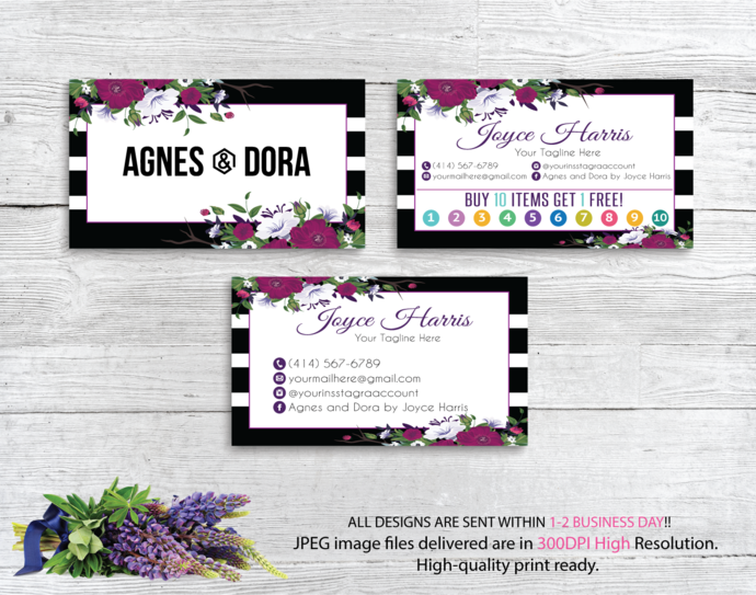Agnes Dora Cards, Business Card, Agnes Dora Business Cards, Watercolor Agnes