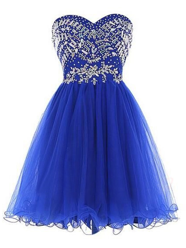 royal blue prom dresses,Royal Blue A-line Sweetheart Short Mini Tulle Homecoming
