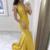 Mermaid Halter Sleeveless Sweep Train Yellow Satin Prom Dress