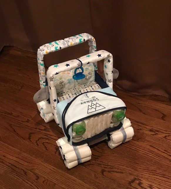 Diaper Jeep, Diaper Centerpiece, Baby Shower Centerpiece