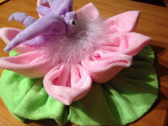 Baby Shower Centerpiece, Dragonfly & Flower, Washcloth Animal, Diaper Cake