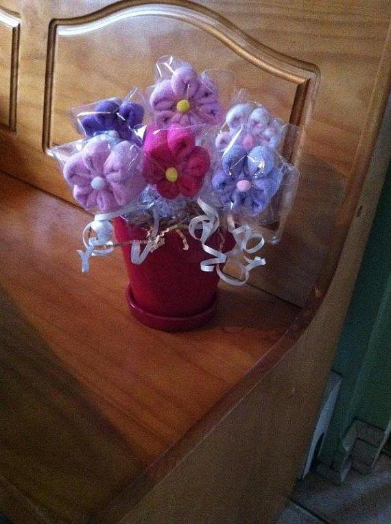 Baby Shower Centerpiece, Flower Pot, Washcloth Lollipop Flowers,