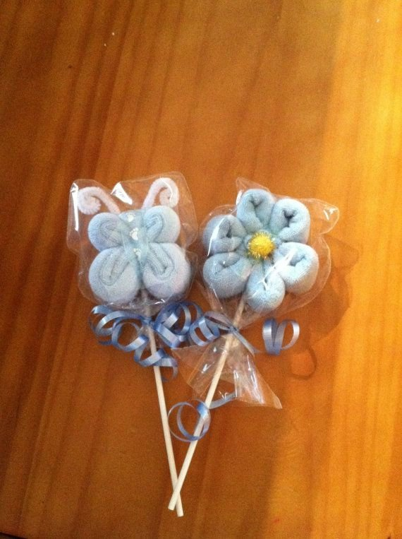 Baby Washcloth Flower & Butterfly Pops, Baby Favor