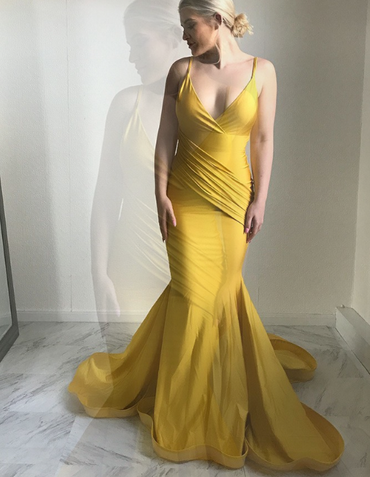 Mermaid Spaghetti Straps Sweep Train Ruched Yellow Satin Prom Dress Yellow Satin
