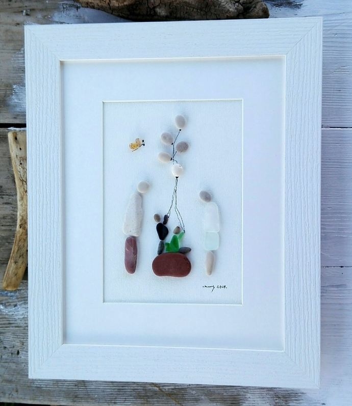 Pebble art family4  , Family4 gift, Birthday children, Anniversary gift, For